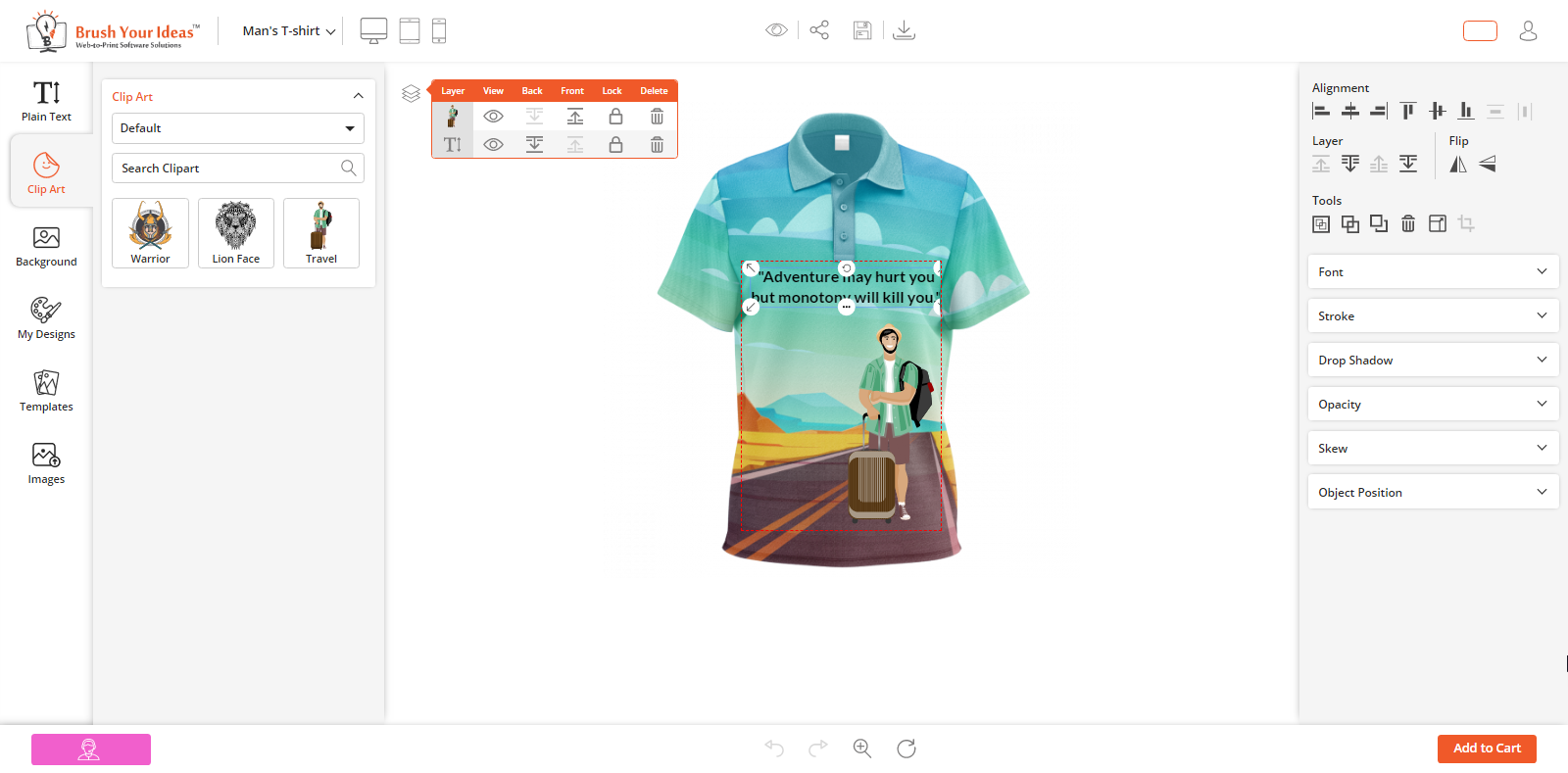 Layer management feature product designer tool