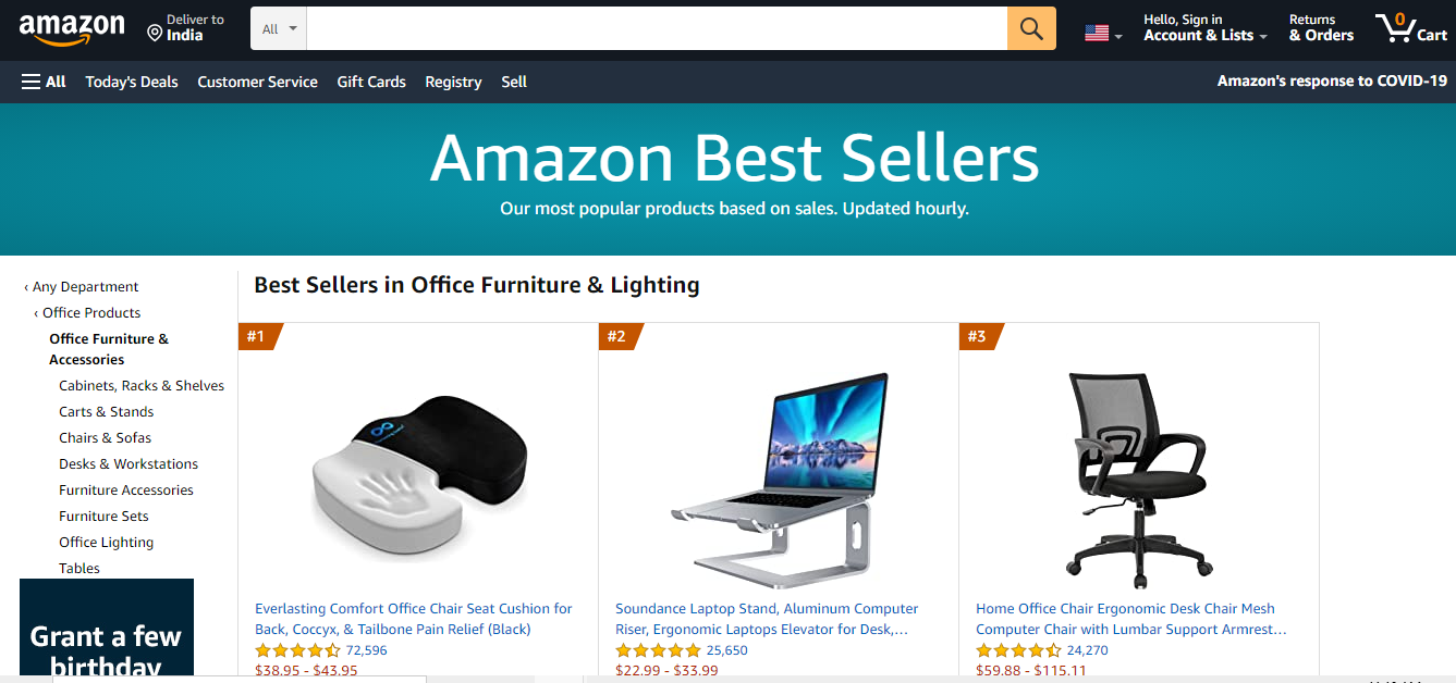 Amazons Best Sellers Page
