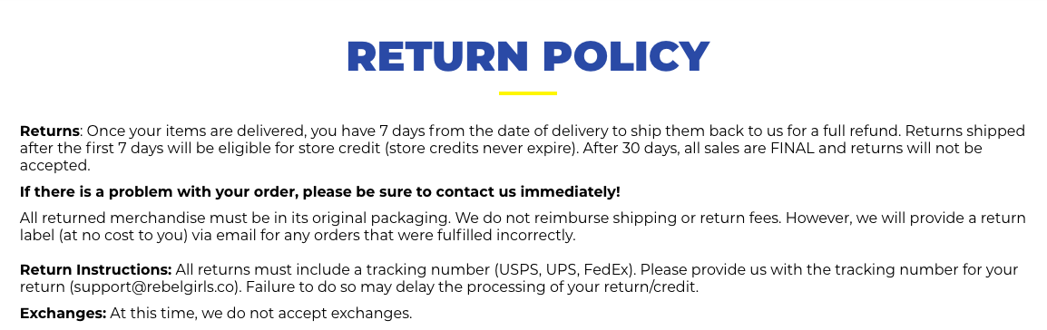 Clear Return Policy