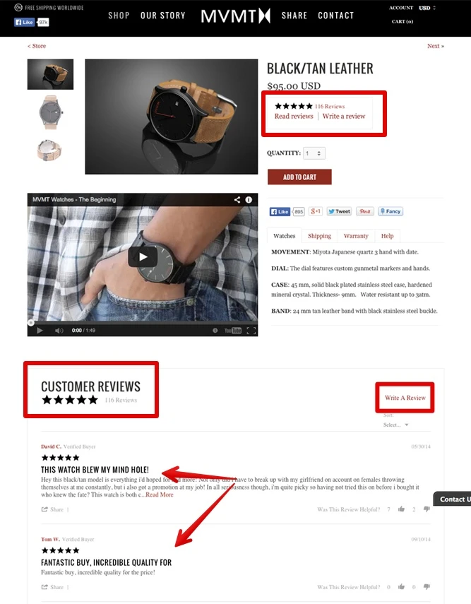 Reviews on Your Product